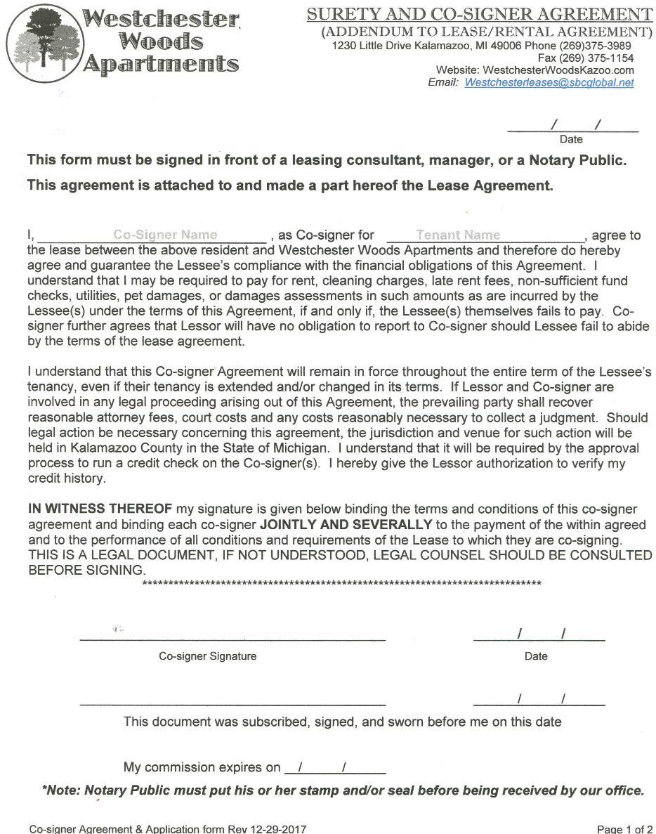 Co Signer Form